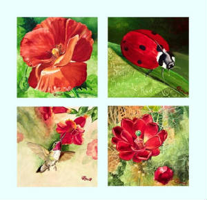 Red Vibrations Series orignial watercolor by Caroline Linscott